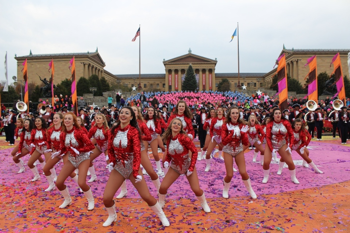 Cheerleaders dancing at the Philadelphia Thanksgiving Day Parade