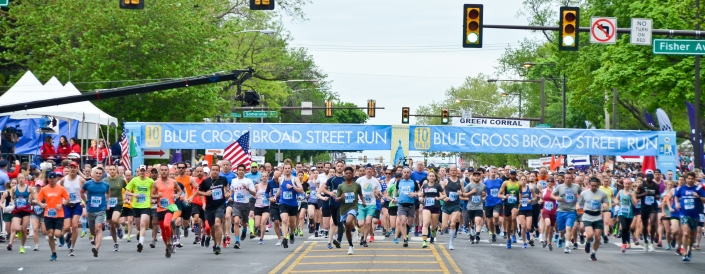 The race is on! Runners take off at the start line for the Broad Street Run