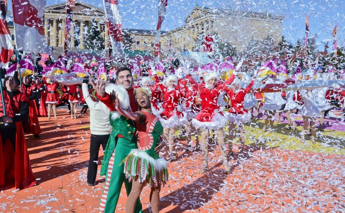 The Philadelphia Thanksgiving Parade Finale featuring dancers, confetti and music